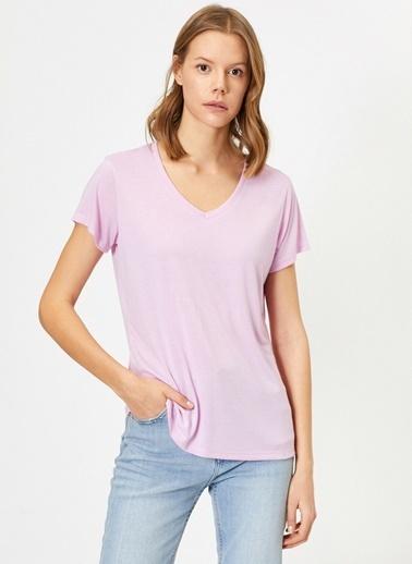Koton V Yaka T-Shirt Mor